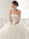 Retro Vintage Inspired Strapless Tea Length Tulle Wedding Dress | DV1035