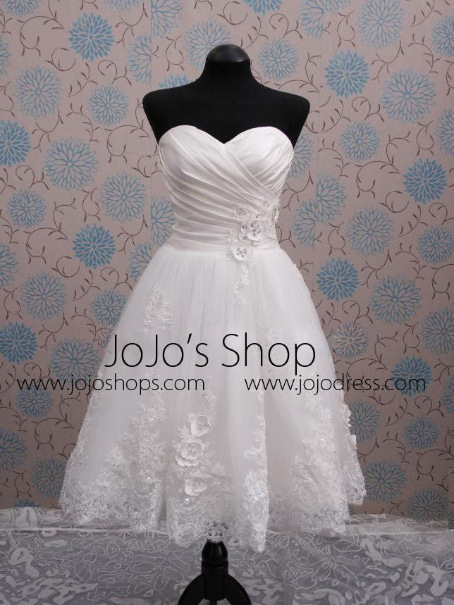 Strapless Short Lace Reception Wedding Dress