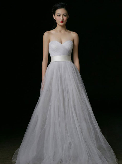Strapless Tulle A-line Wedding Dress with Sweetheart Neckline | RS3003