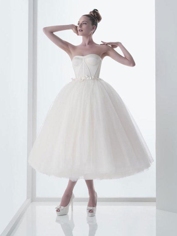 Retro 50s Strapless Tulle Ballerina Tea Length White Tulle Dress | DV1038