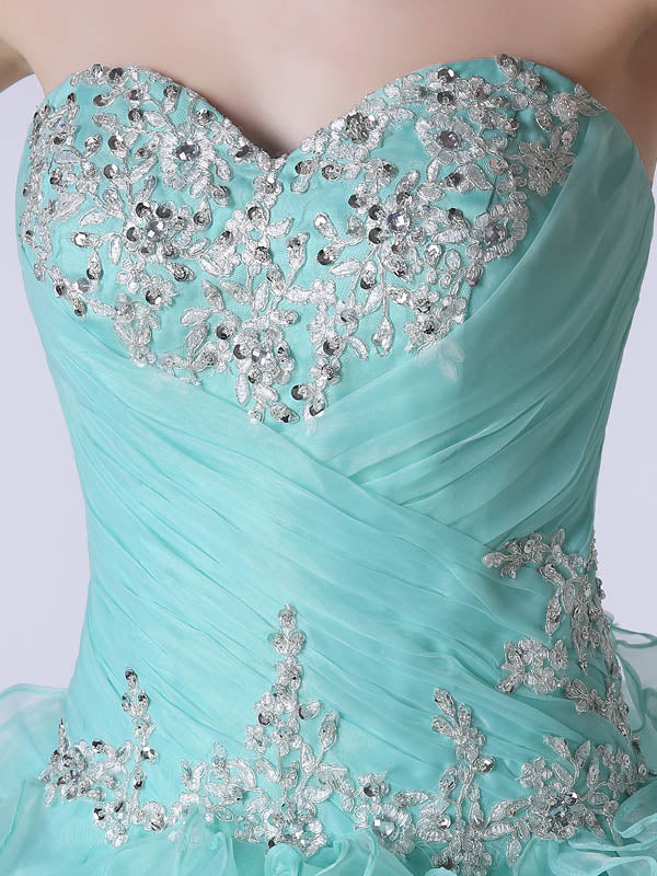 Strapless Turquoise Formal Quinceanera Ball Gown Dress