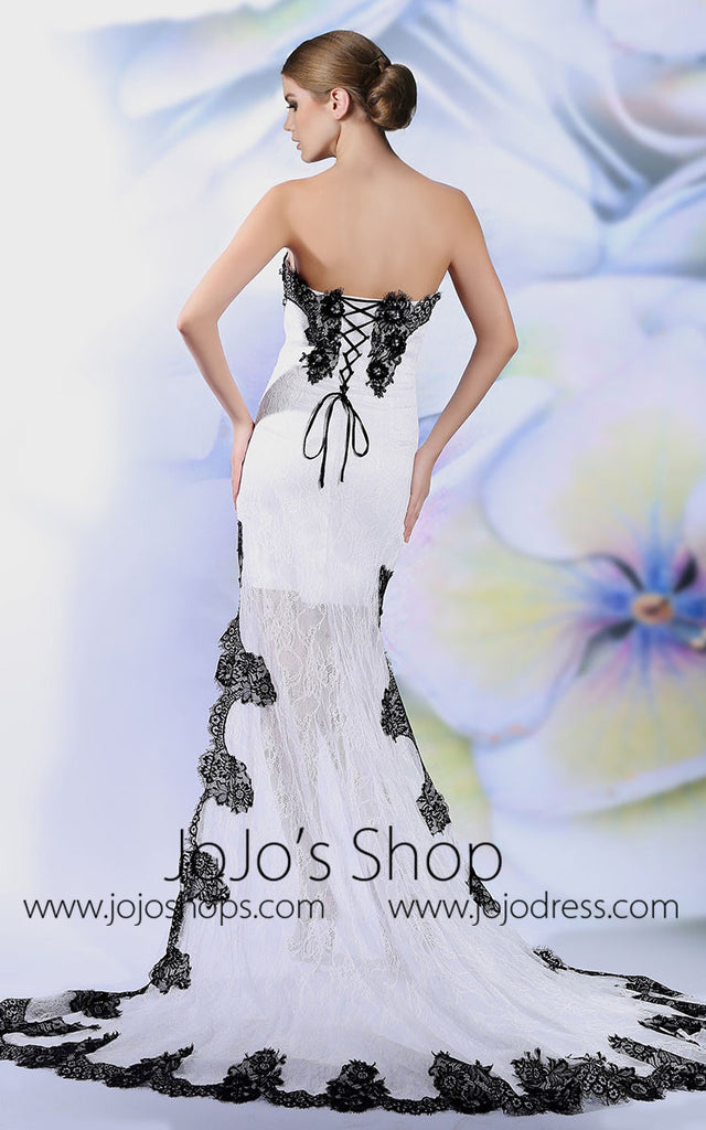 Strapless White And Black Hi Low Evening Dress Prom Wedding | DQ86142