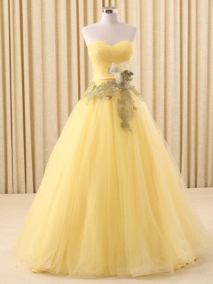 Yellow Strapless Home Coming Dress
