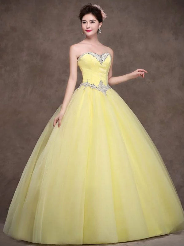 Strapless Yellow Tulle Quinceanera Ball Gown Dress X006 – JoJo Shop