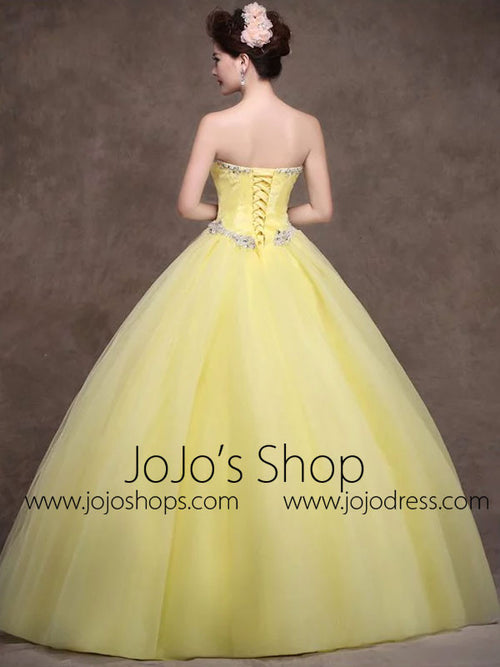 Strapless Yellow Tulle Quinceanera Ball Gown Dress X006