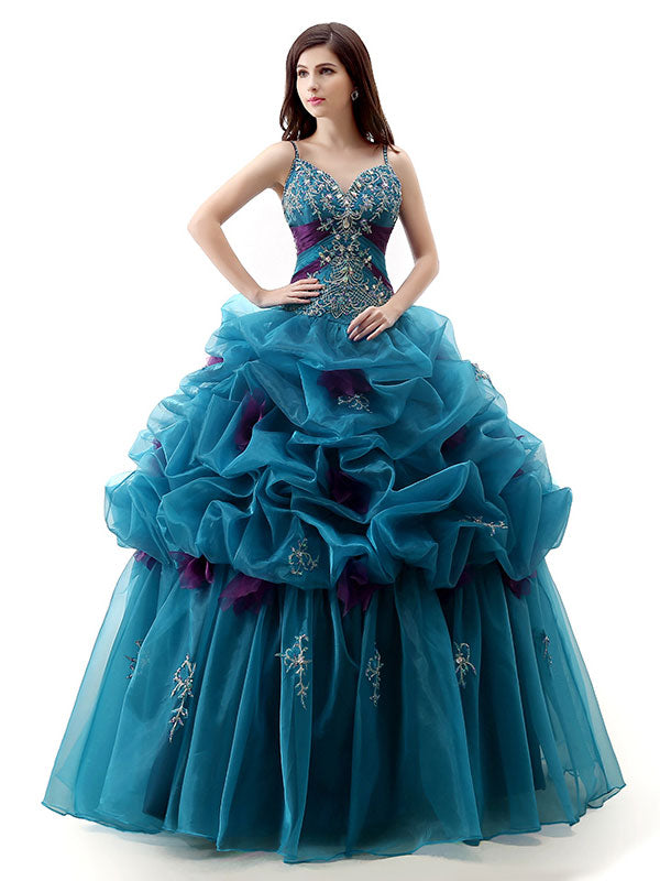 Teal Green Home Coming Quincerean Ball Gown