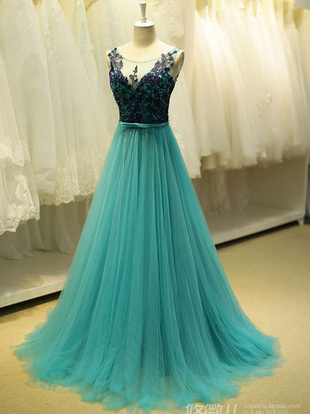 Teal Green Fairy Tale Lace Formal Prom Evening Dress