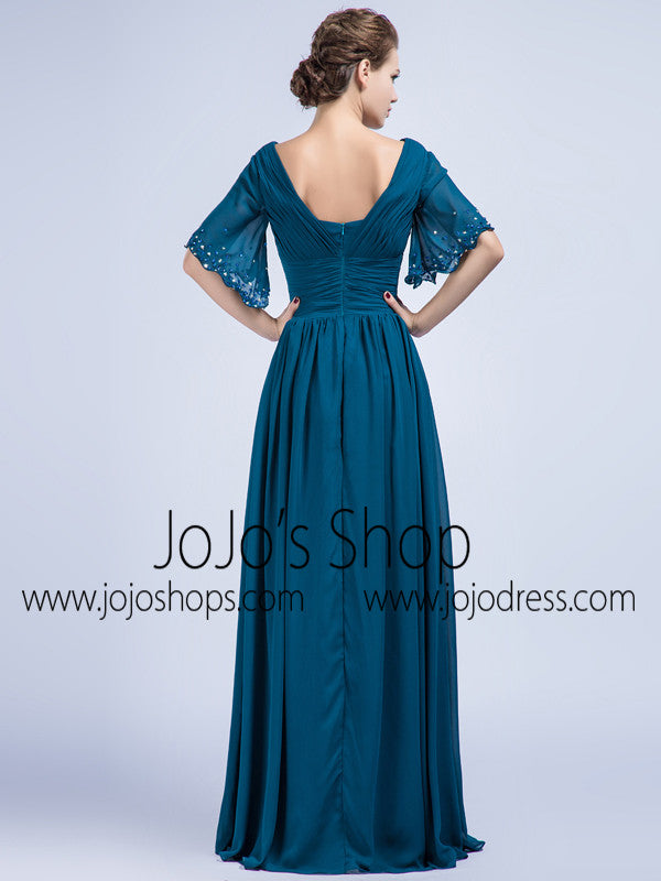 Teal Chiffon Full Length Graduation Dress with Sleeves