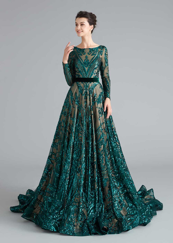 Teal Sequin Shimmery A-line Home Coming Prom Dress