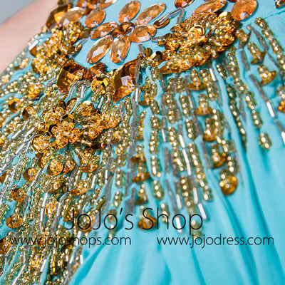 Turquoise Grecian Halter Long Formal Prom Evening Dress