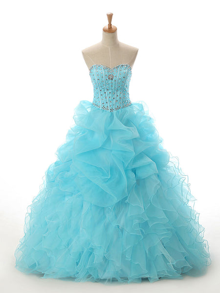 Strapless Turquoise A-line Ruffle Princess Ball Gown