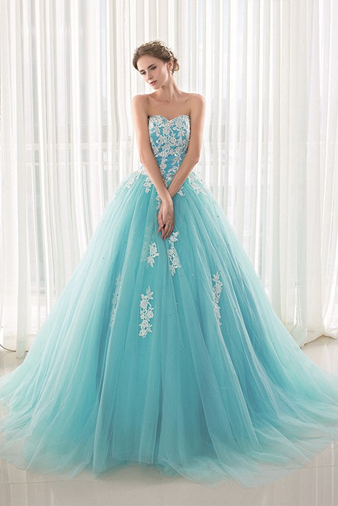 Strapless Turquoise Blue Ball Gown Prom Dress EN19090085
