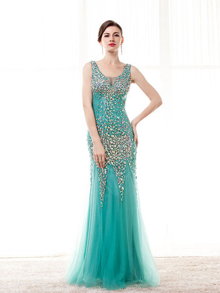 Green Formal Prom Dress with Rhinestones