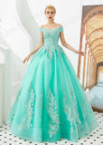 Turquoise Off the Shoulder Ball Gown Prom Formal Dress