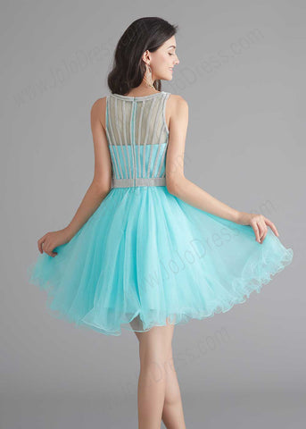 Chic Short Turquoise Tulle Evening Dress