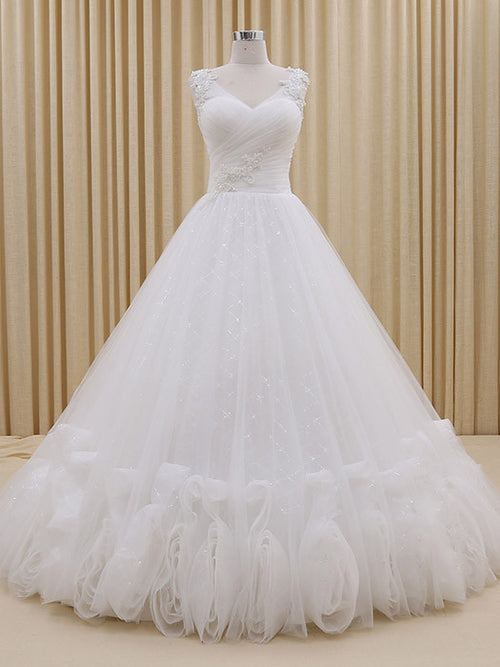 V Neck Tulle and Lace Ball Gown Wedding Dress | RS3008
