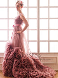V Neck Prom Formal Evening Dress with Ruffles | RS3005