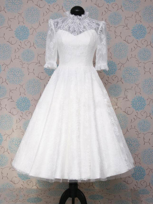 Victorian Style Retro Modest Tea Length Lace Wedding Dress With Mid Sleeves