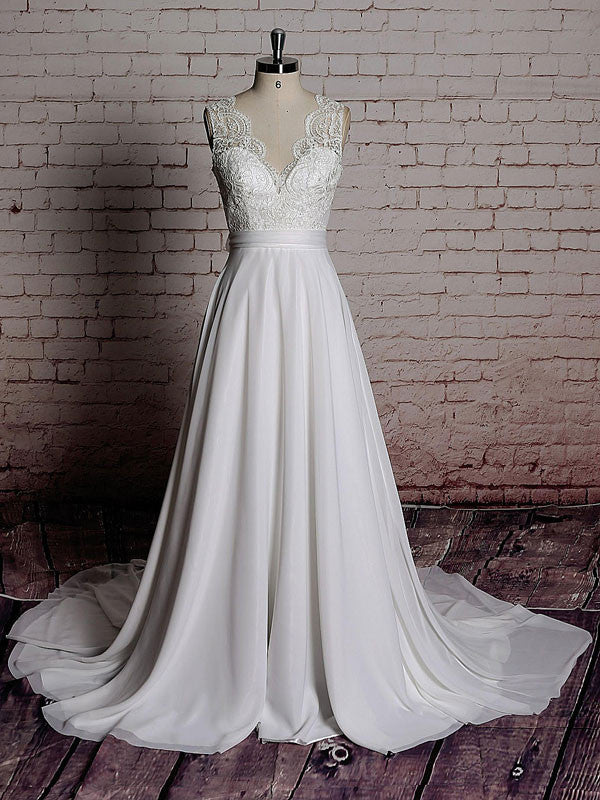 Vintage Lace Chiffon Wedding Dress with Scalloped Lace V Neck | EE3009
