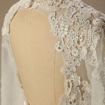 Vintage Style Satin Lace Wedding Dress