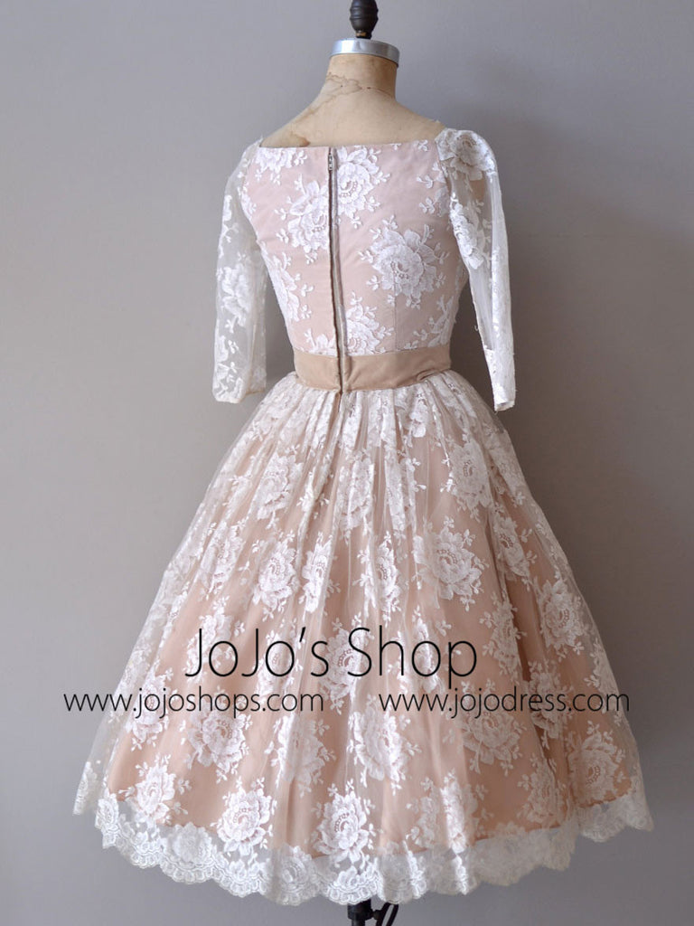 Retro Modest Mocha Lace Short Wedding Dress with Long Sleeves