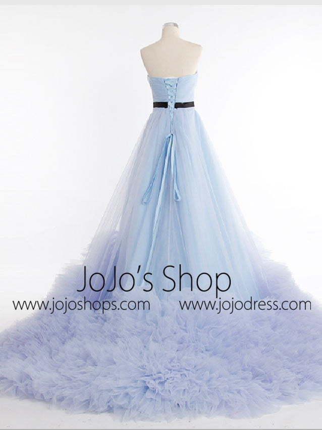 Strapless Sky Blue Tulle A-line Princess Formal Evening Dress