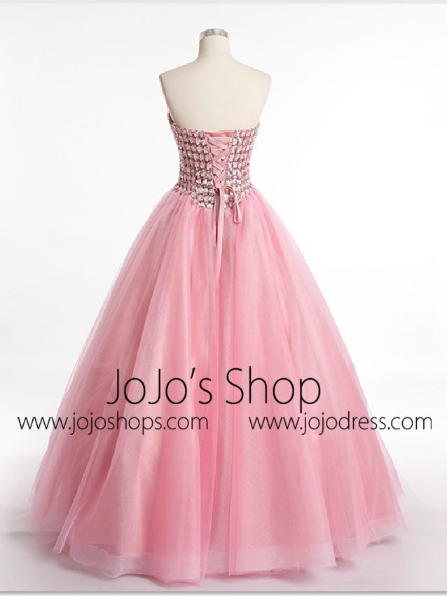 Strapless Pink Prom Formal Dress with Sparkly Jewels