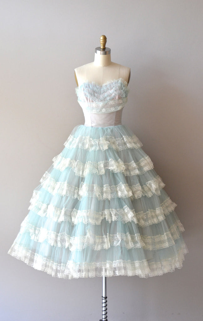Vintage Style Short Prom Dress with Lace Tiered Skirt – JoJo Shop