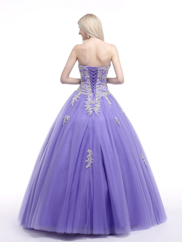 Lavender Strapless Princess Ball Gown Formal Dress