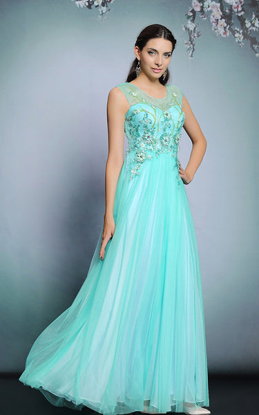 Whimsical Turquoise Grecian Long Formal Prom Evening Dress