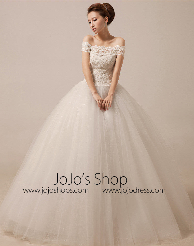 Off Shoulder Ball Gown Wedding Dress Debutante Dress