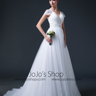 Lace Cap Sleeves Wedding Dress with Tulle Skirt