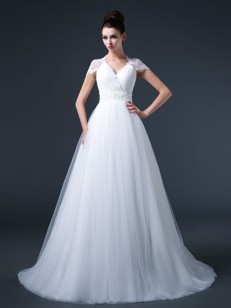 Lace Cap Sleeves Wedding Dress with Tulle Skirt – JoJo Shop