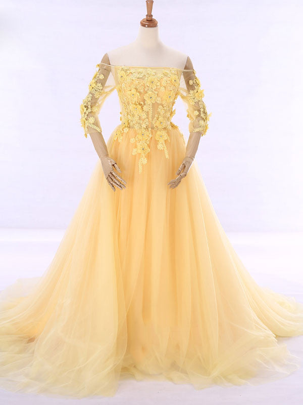 ca51362133b1 Yellow Off Shoulder Formal Evening Gown with Daisy Flowers – JoJo Shop