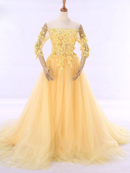 Yellow Off Shoulder Formal Evening Gown with Daisy Flowers