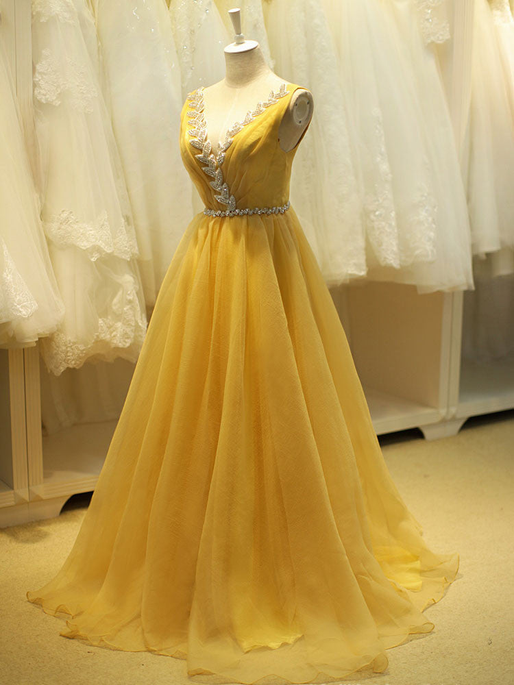 e43a9385efa Yellow Ball Gown Prom Formal Dress