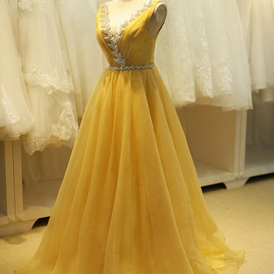 Yellow Ball Gown Prom Formal Dress