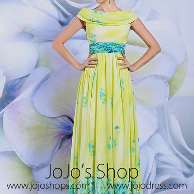 Yellow Grecian Chiffon Floral Formal Evening Dres With Sleeves | DQ831238