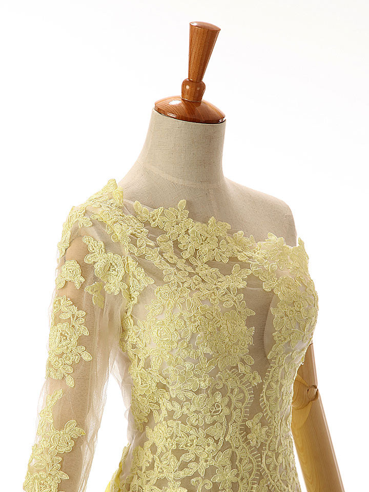 Yellow One Shoulder Lace Formal Prom Evening Dress