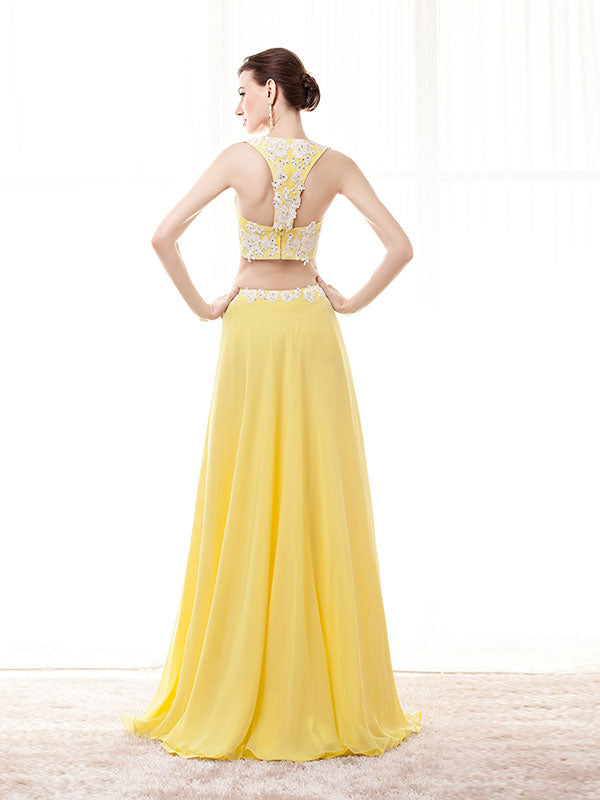 Two Piece Yellow Formal Prom Evening Dress