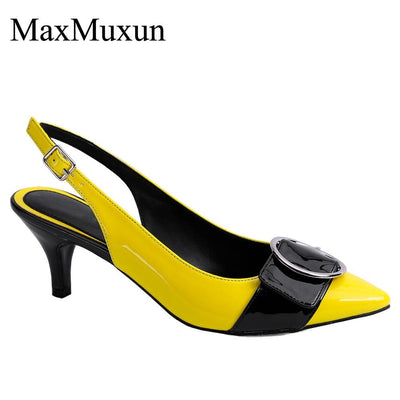 Womens Slingback Dress Pumps with Round Buckle