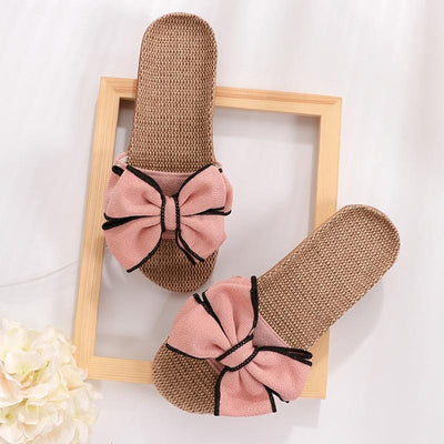 Women's Bowknot Slides Home Slippers