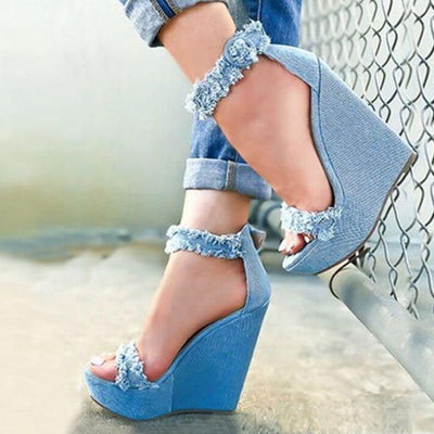 Women's Denim Wedge Sandals