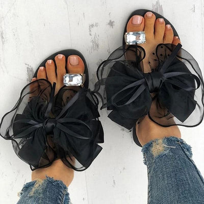 Women's Rhinestone Toe Ring Flat Sandals