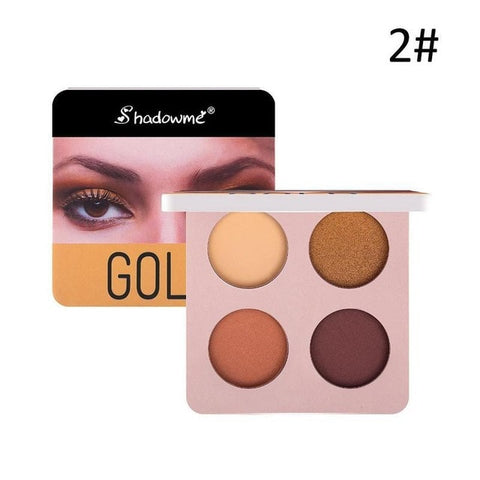 4 Color Wine Red Eyeshadow Palette Pressed Shimmer Matte Eye Shadow MakeUp Long-Lasting Eye Palette Hua For Beauty