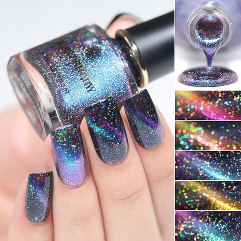 BORN PRETTY 3D Magnetic Glitter Nail Polish 6ml Holographic Chameleon Cat Eye Nail Varnish Nail Lacquer Black Base Needed