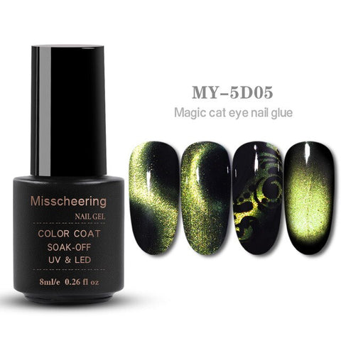8ml Magnetic Magic 5D Cat Eyes Effect UV Gel Nail Polish Laser Varnish Glitter Starry Nail Art Soak Off Keygel Hybrid Lacquer