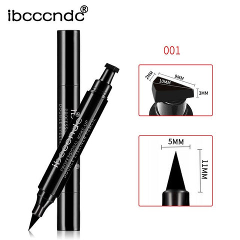 ibcccndc 2305 Makeup Black Eye Liner Liquid Pencil Quick Dry Waterproof Black Double-ended Makeup Stamps Wing Eyeliner Pencil