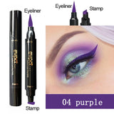 Evpct 7 Color 2 In 1 Liquid Glitter Eyeliner with Eyeliner Stamp Thin Wing Seal Makeup Black Brown Smoky Eyes Liner Pencil TSLM1