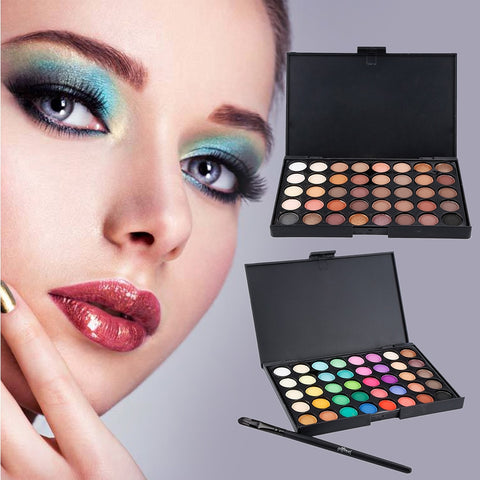 New Eye Makeup Nudes Palette 40 Color Matte Eyeshadow Pallete Glitter Powder Eye Shadows Earth Brush Set Stamps Pigment TSLM2